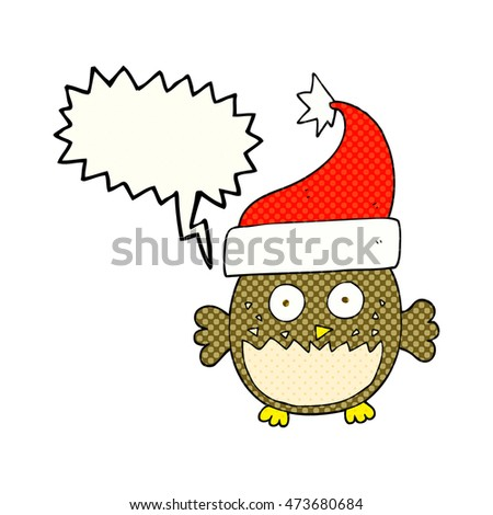 freehand drawn comic book speech bubble cartoon owl wearing christmas hat