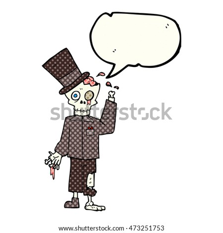 freehand drawn comic book speech bubble cartoon posh zombie