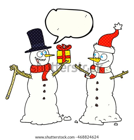freehand drawn comic book speech bubble cartoon snowmen exchanging gifts