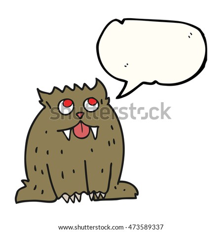 freehand drawn speech bubble cartoon beast
