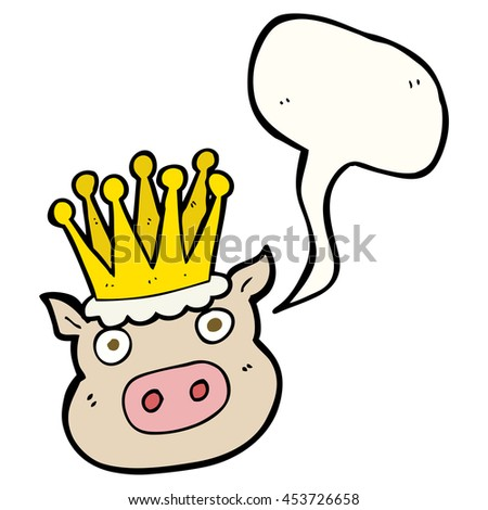 freehand drawn speech bubble cartoon crowned pig - stock photo