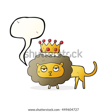 freehand drawn speech bubble cartoon lion with crown