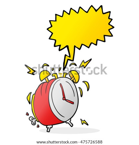 freehand drawn speech bubble cartoon ringing alarm clock