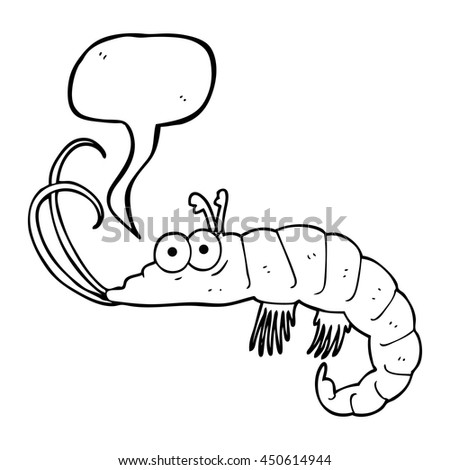 freehand drawn speech bubble cartoon shrimp - stock photo