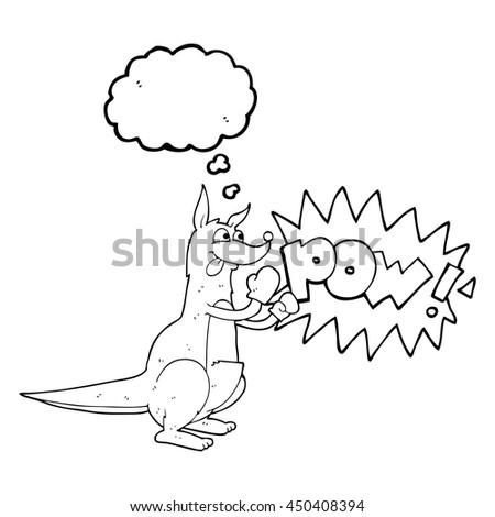 freehand drawn thought bubble cartoon boxing kangaroo