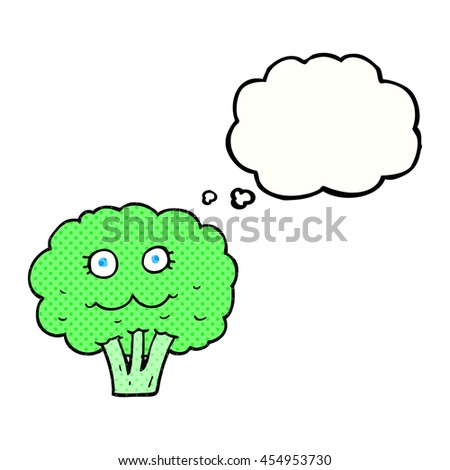 freehand drawn thought bubble cartoon broccoli