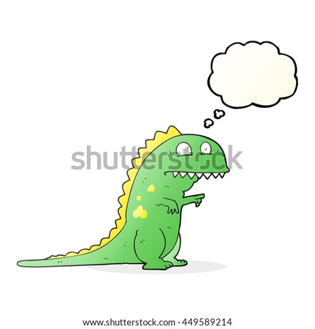 freehand drawn thought bubble cartoon dinosaur