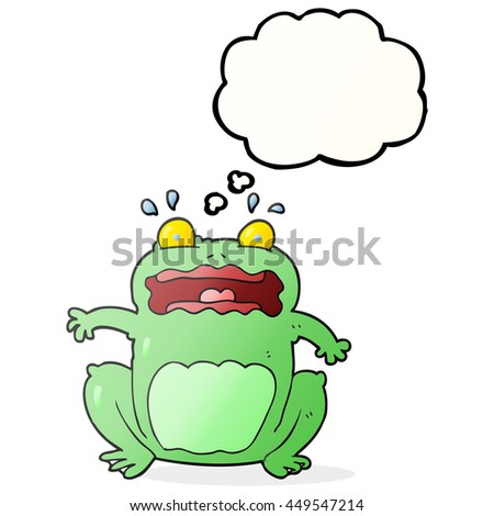 freehand drawn thought bubble cartoon funny frightened frog