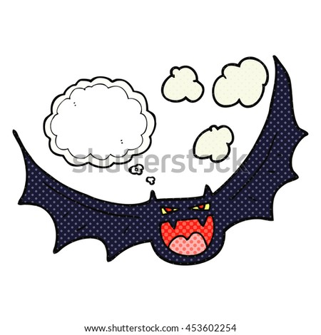 freehand drawn thought bubble cartoon halloween bat - stock photo