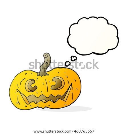 freehand drawn thought bubble cartoon halloween pumpkin