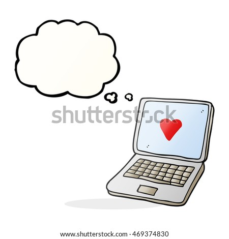 Freehand Drawn Thought Bubble Cartoon Laptop Stock Illustration