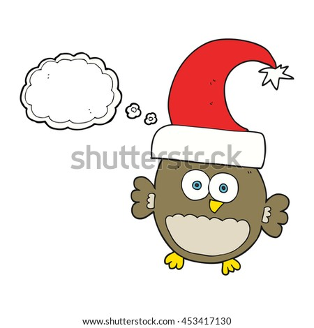freehand drawn thought bubble cartoon little christmas owl
