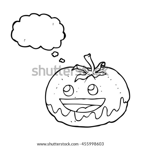 freehand drawn thought bubble cartoon tomato