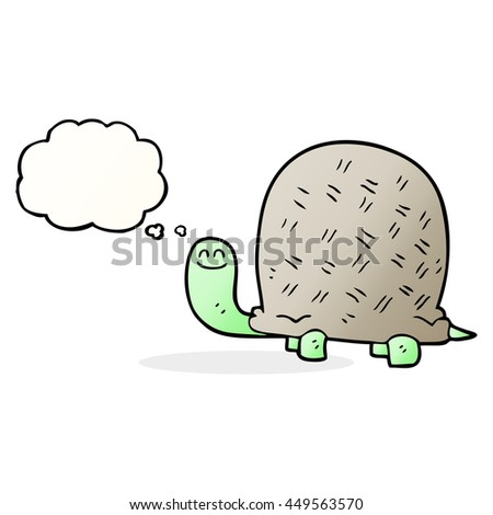 freehand drawn thought bubble cartoon tortoise