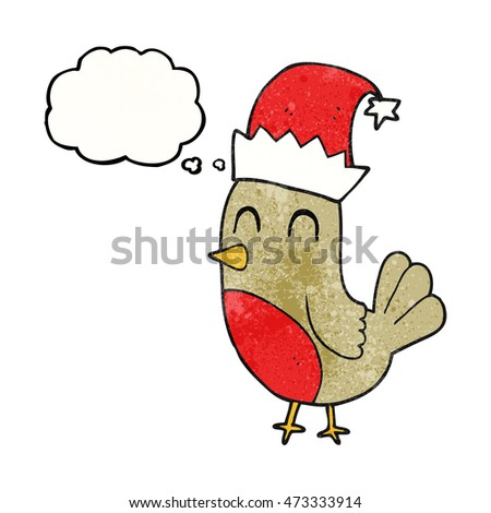 freehand drawn thought bubble textured cartoon christmas robin
