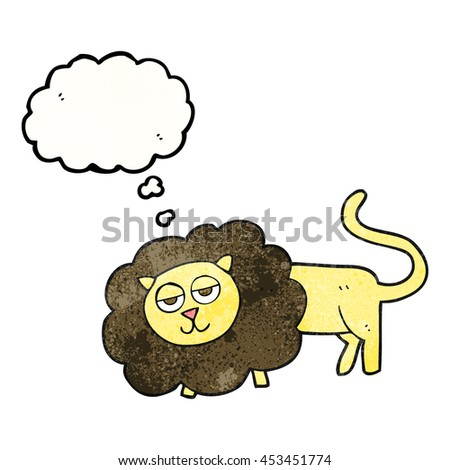 freehand drawn thought bubble textured cartoon lion
