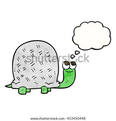 freehand drawn thought bubble textured cartoon tortoise
