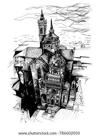 Freehand Europe Italy architecture ink marker drawing