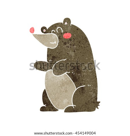 freehand retro cartoon bear - stock photo