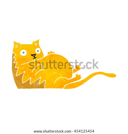freehand retro cartoon fat cat - stock photo