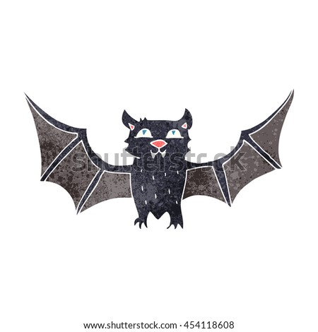 freehand retro cartoon halloween bat - stock photo