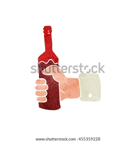 freehand retro cartoon hand holding bottle of wine - stock photo