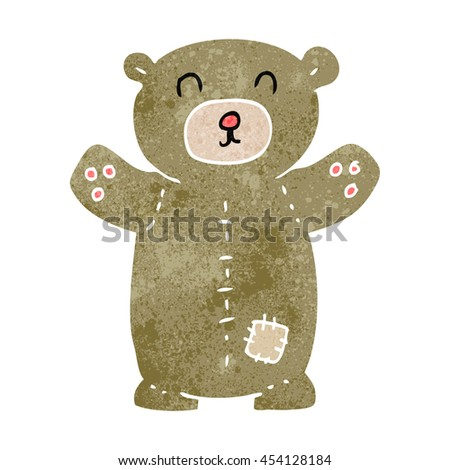freehand retro cartoon teddy bear - stock photo
