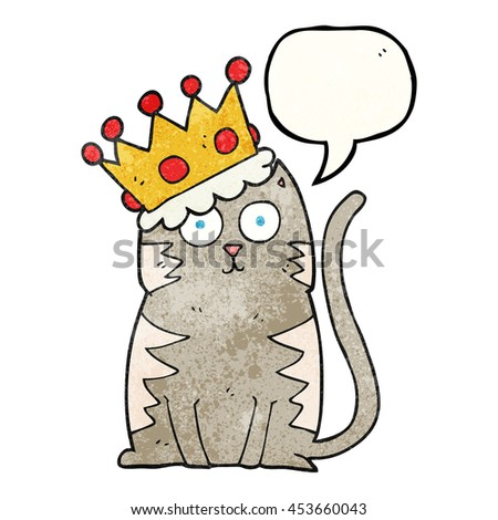 freehand speech bubble textured cartoon cat with crown
