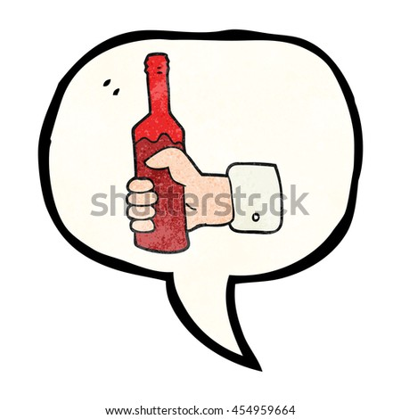freehand speech bubble textured cartoon hand holding bottle of wine - stock photo