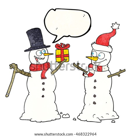 freehand speech bubble textured cartoon snowmen exchanging gifts