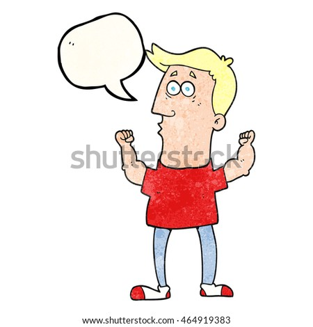freehand speech bubble textured cartoon surprised man flexing biceps