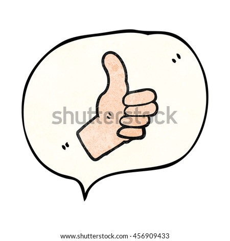 freehand speech bubble textured cartoon thumbs up sign