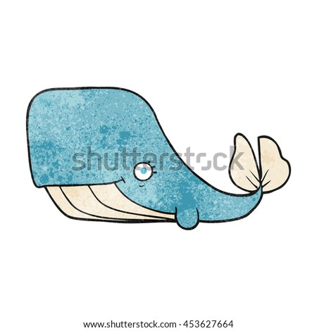 freehand textured cartoon happy whale