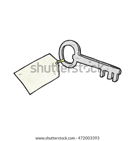 freehand textured cartoon key with tag