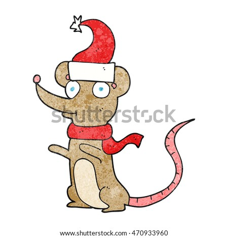 freehand textured cartoon mouse wearing christmas hat