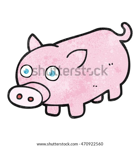 freehand textured cartoon piglet