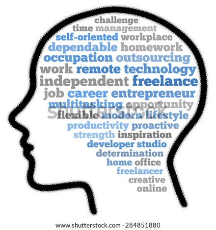 Freelance in word cloud concept - stock photo