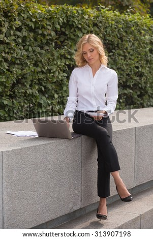 Freelance lady working in the park with her laptop. Beautiful woman with blond hair sitting on brick wall and typing something. - stock photo