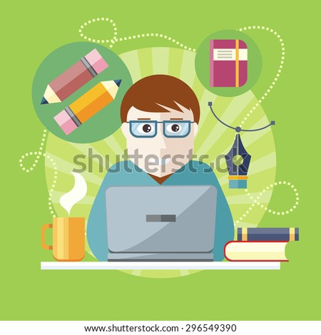Freelancer, copywriter, journalist writing at the computer on the stylish colored background. Activity field of freelancer. Flat design cartoon style for web design, analytics. Raster version  - stock photo