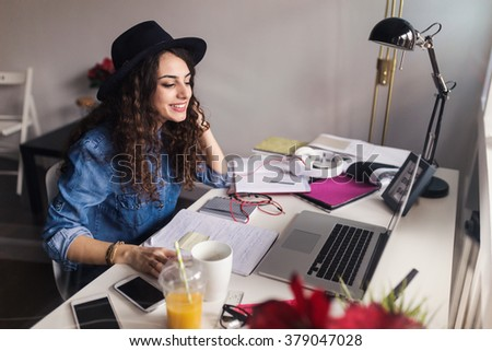 Freelancer during the work in home office. Depth of field, selective focus - stock photo