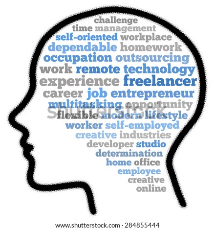 Freelancer in word cloud concept - stock photo