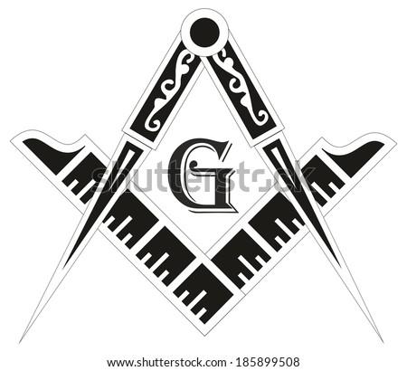 Freemasonry emblem - the masonic square and compass symbol, illustration for esoteric design - stock photo
