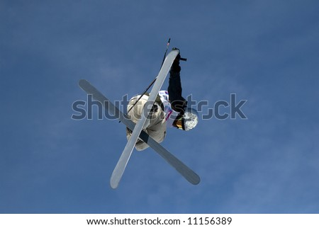 Freestyle skier in les Arcs. France - stock photo