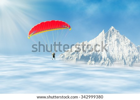 Freestyle solo paragliding at high altitude in the sky over clouds against mountain peak  - stock photo