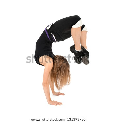 Freestyle woman dancer against white background. - stock photo