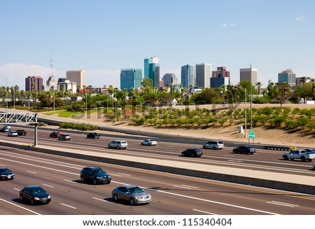 Freeway and downtown Phoenix, Arizona - stock photo
