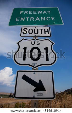 Freeway Entrance sign to US Route 101 South, Pacific Coast Highway  - stock photo