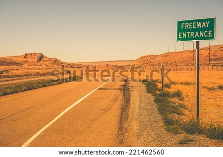 Freeway Entrance Somewhere in Utah Rural Place. - stock photo