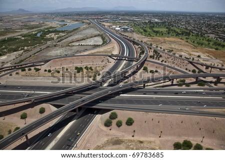 Freeway Interchange - stock photo