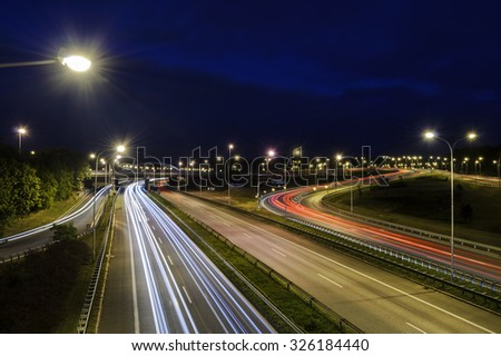 Freeway near the Katowice, Poland in the evening - stock photo